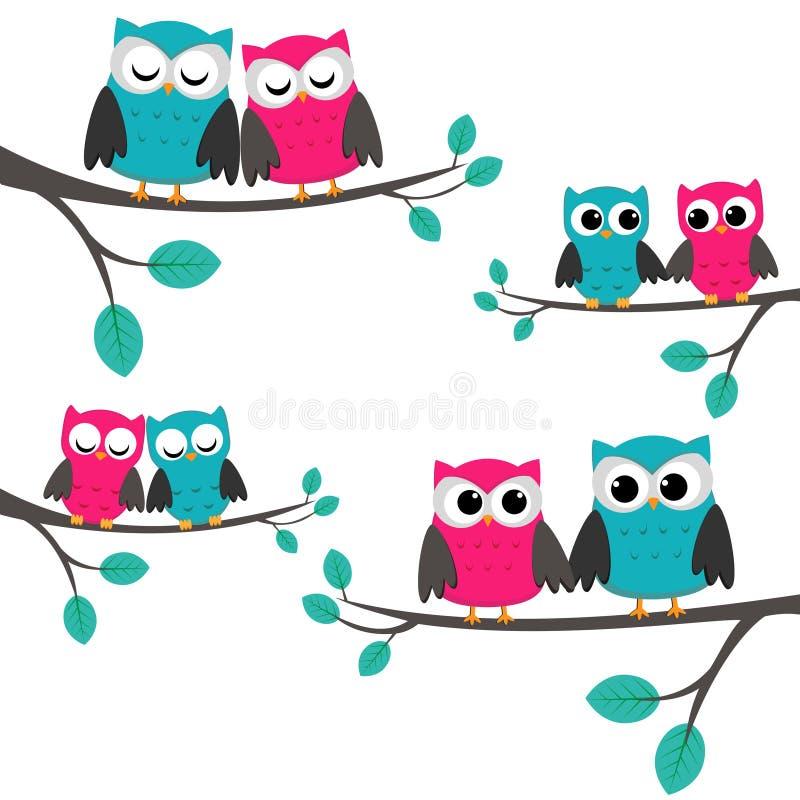 Owls_couples illustration stock