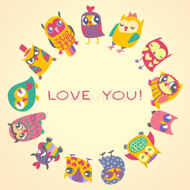 Owls cute greeting card and sample text. Template for design cartoon greeting card, Valentines day background vector illustration