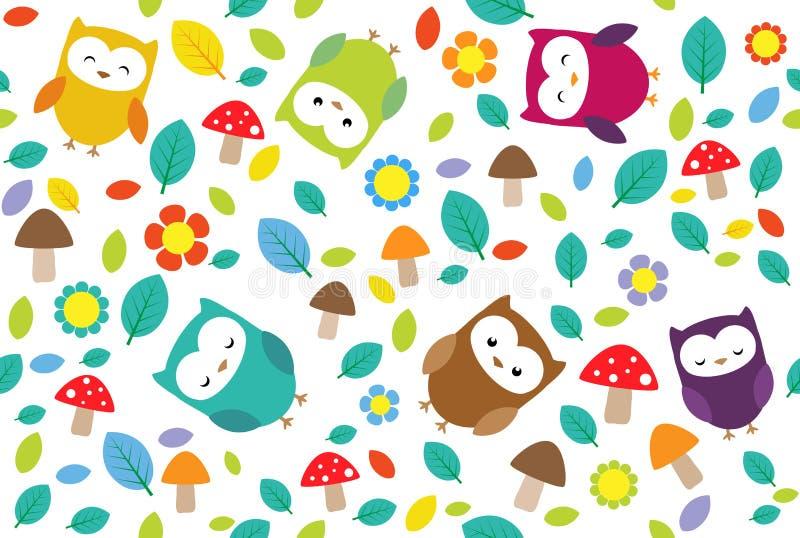 Owls leafs stock illustration