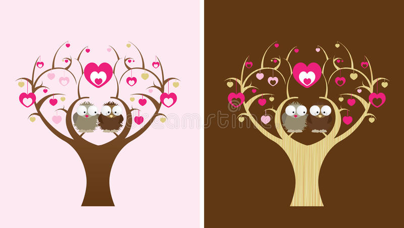 Owls in a love tree royalty free illustration