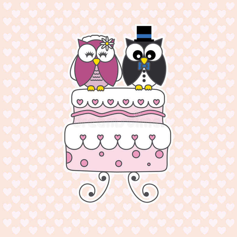 Owls in love stock illustration