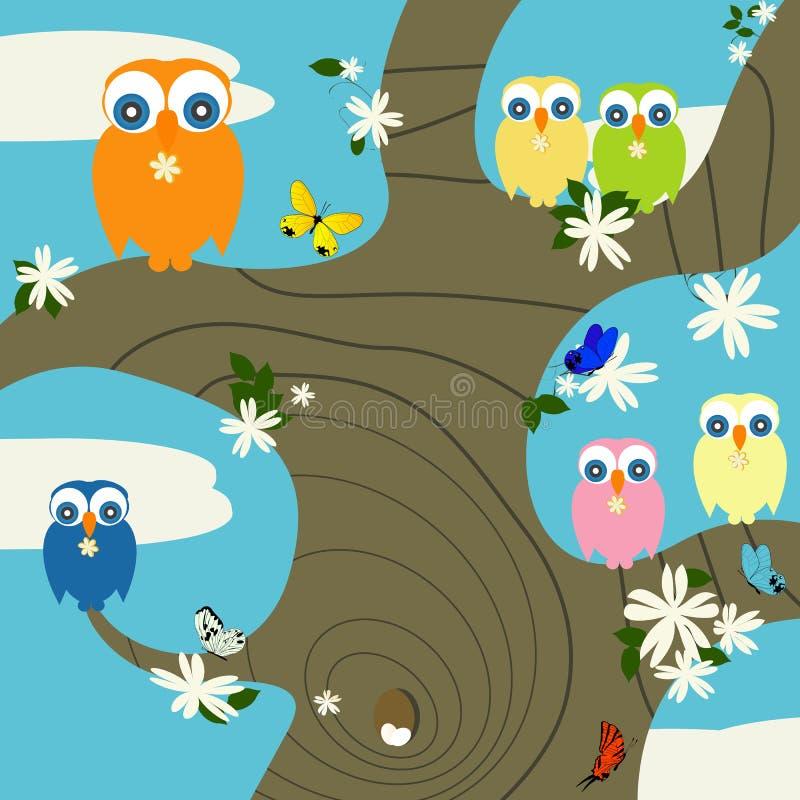 Download Owls nest stock vector. Illustration of landscape, flowers - 17654112
