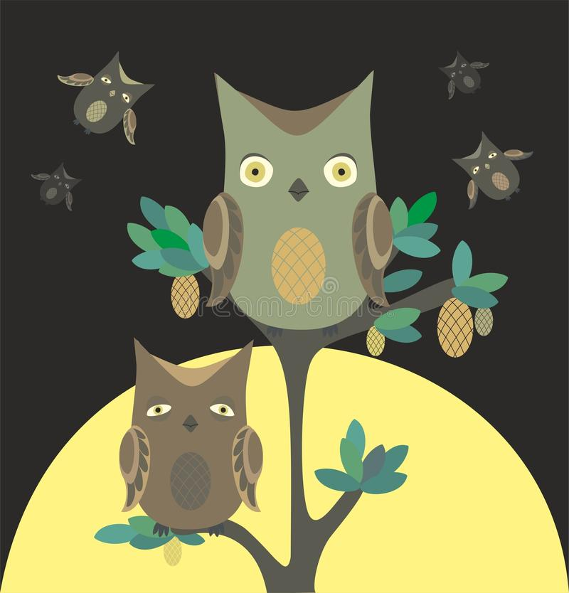 Download Owls at night stock vector. Illustration of animal, papuan - 24360820