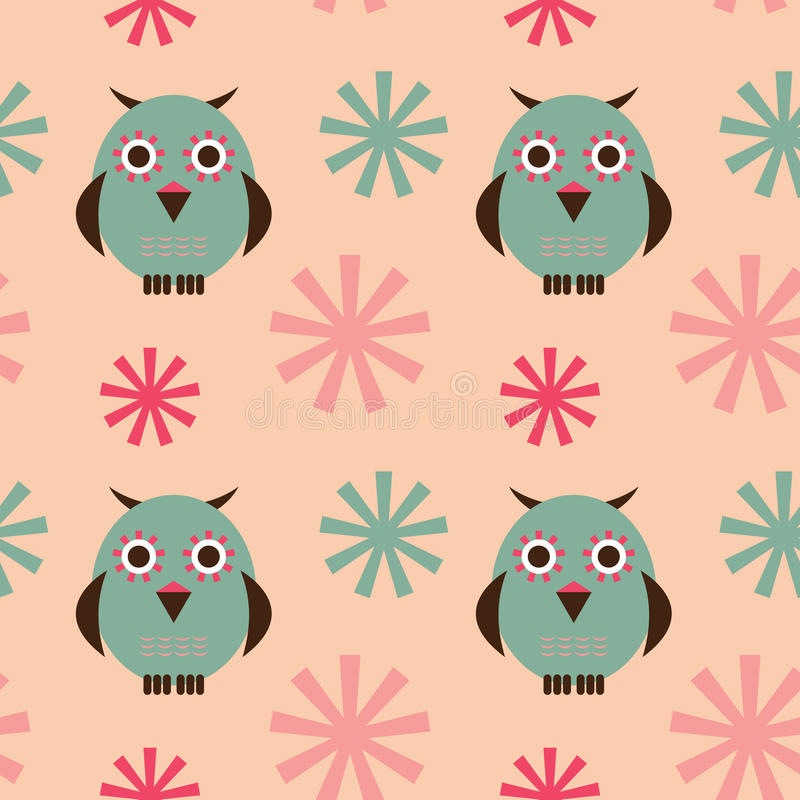 Download Owls seamless pattern stock vector. Image of wallpaper - 19032796