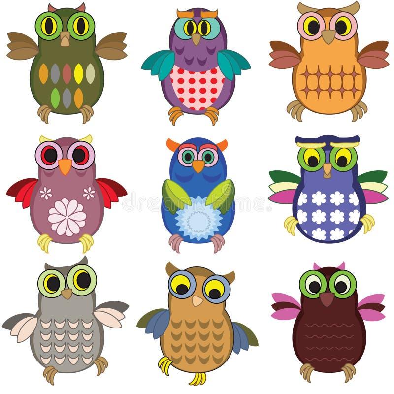 Free Owls Set Royalty Free Stock Photography - 31519527