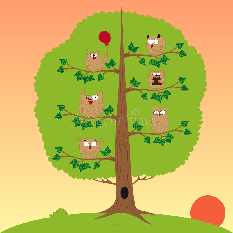 Owls sitting in a tree, sunset, funny owl. royalty free illustration
