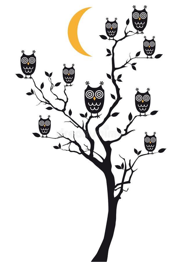 Owls Sitting On Tree, Vector Stock Photo