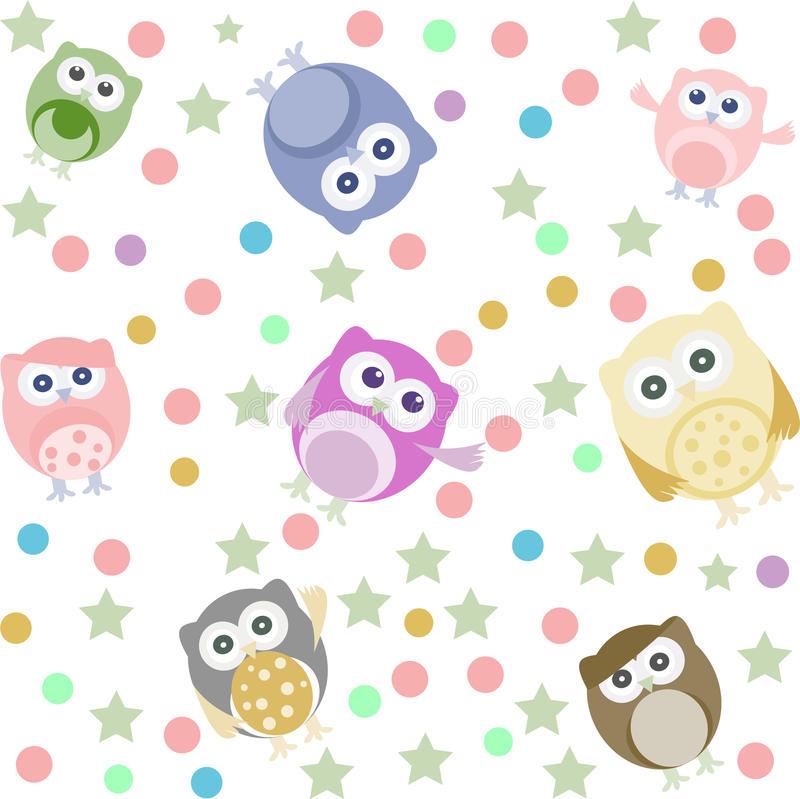Owls, stars and circles seamless background royalty free illustration