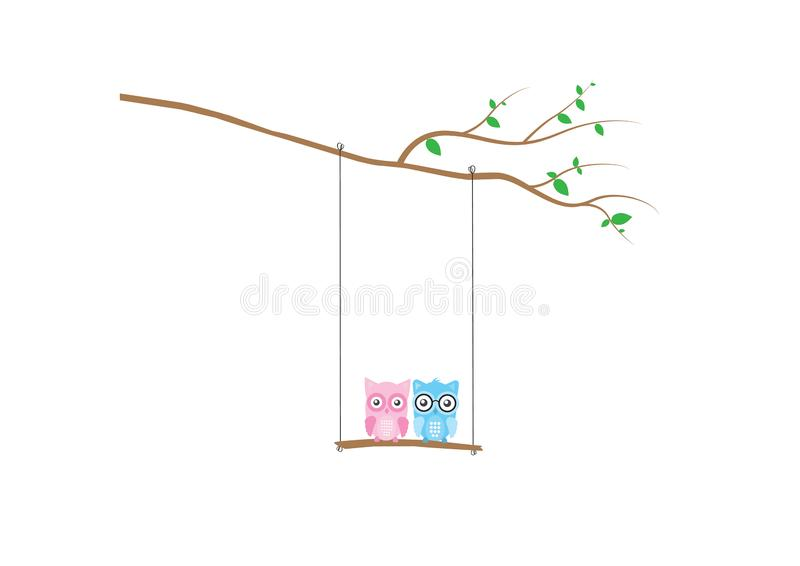 Cute Owls Silhouette on swing on branch  Vector, Owls on swing on three, Colorful Wall Decals, Children Wall Art, Kids Art Decor stock illustration
