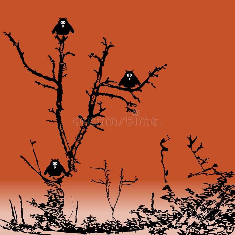 owls tre stock illustrationer