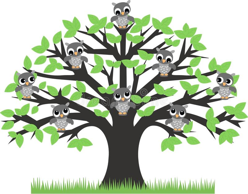 Download Owls in a tree stock vector. Image of colors, company - 17669018