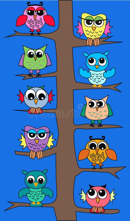 Owls in a tree stock illustration