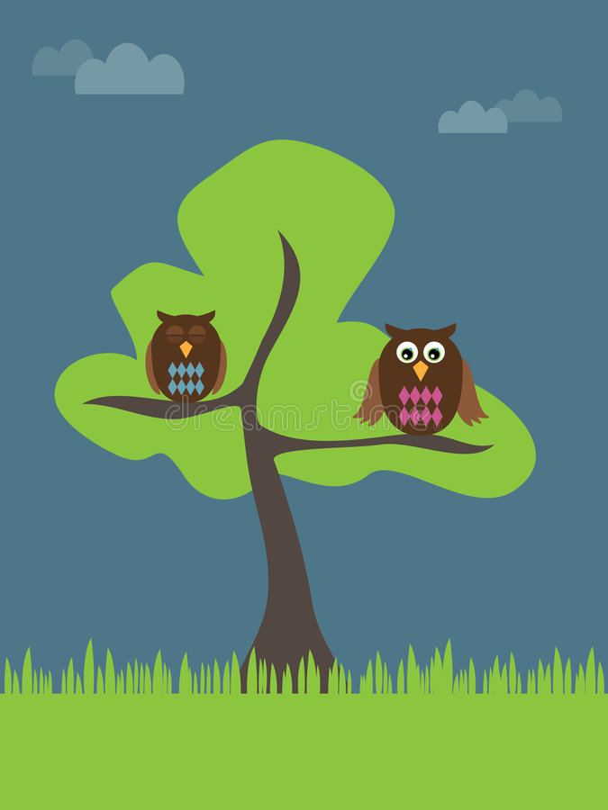 Owls in a tree royalty free illustration