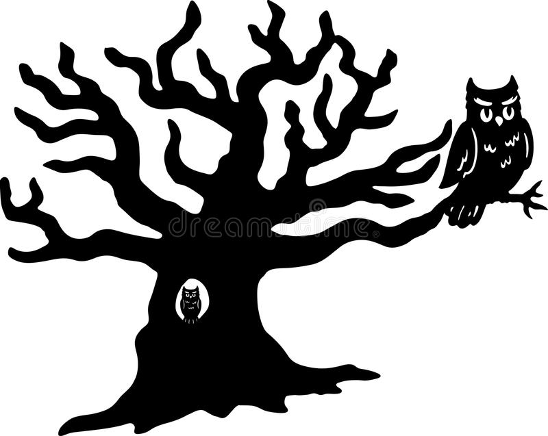 Owls and Tree Vector. Isolated on a white background vector illustration