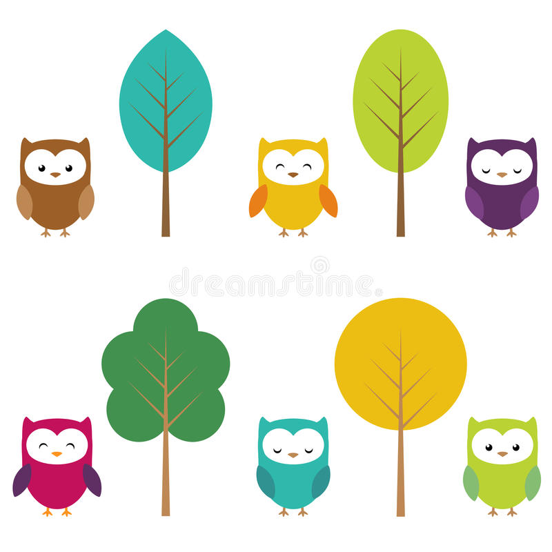 Owls and trees royalty free illustration