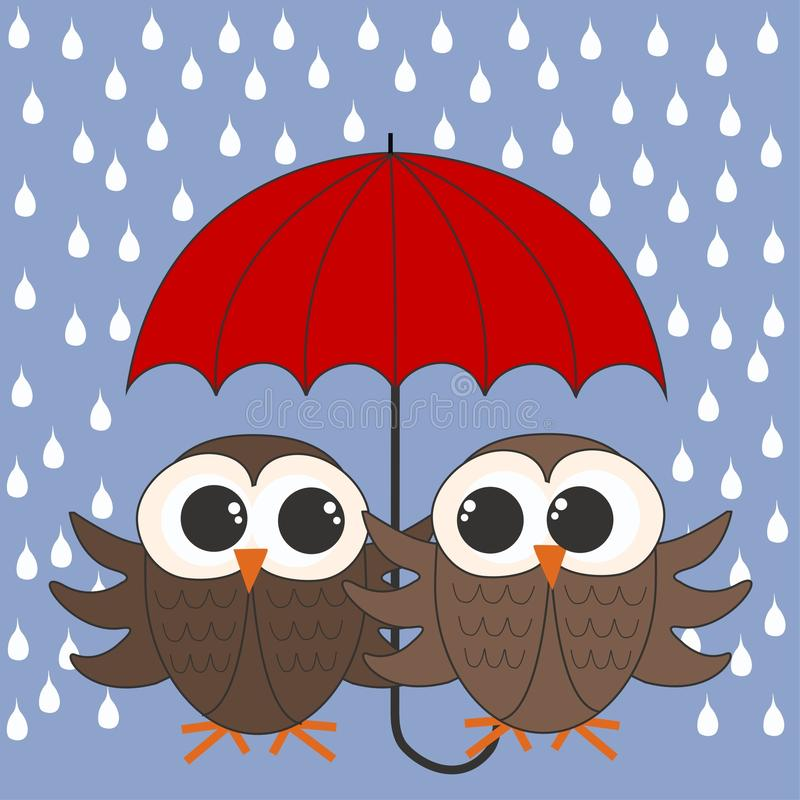 Download Owls with a umbrella stock vector. Illustration of graphics - 22611399