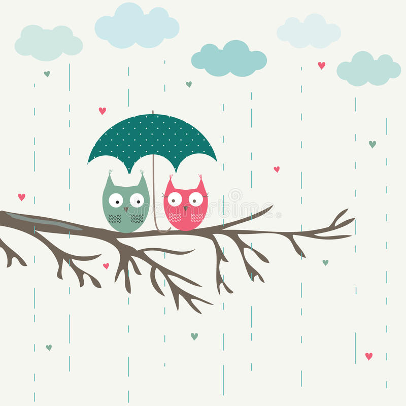 Owls under umbrella royalty free illustration