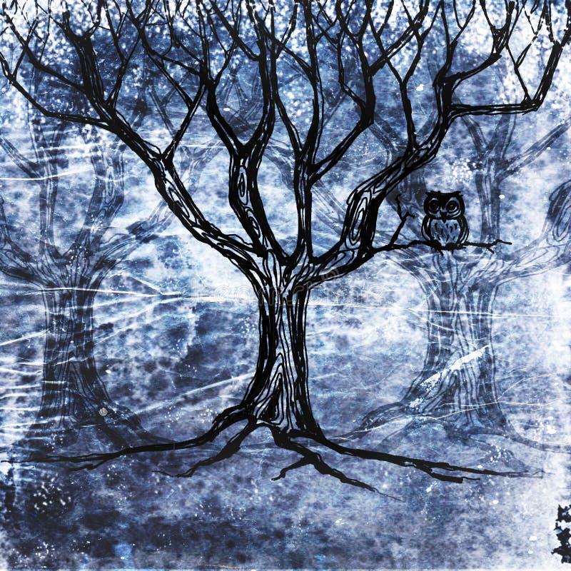 Owlsammanträde på en tree vektor illustrationer