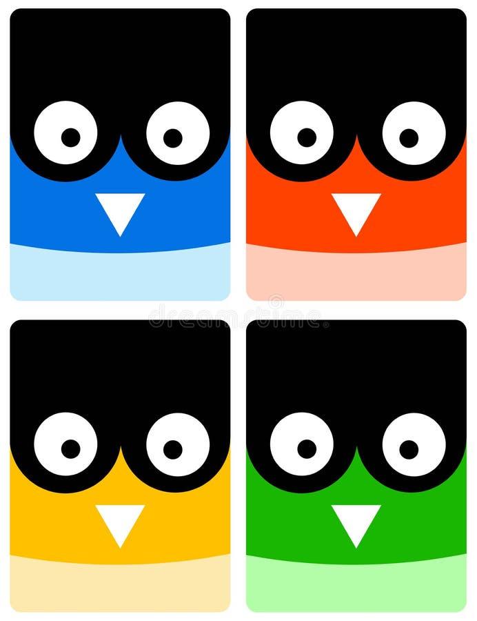 Owlsymboler royaltyfri illustrationer