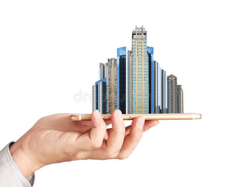 Own real estate smart phone. Find a new home inside your smart phone, Real estate royalty free stock photo