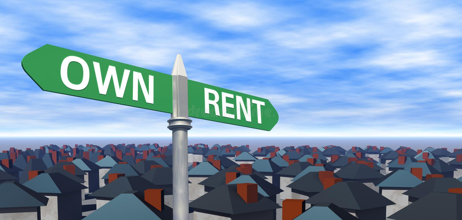 Own or Rent Sign with Houses royalty free illustration