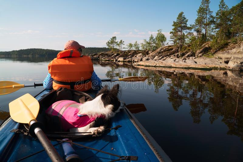 The owner and the dog in a life jacket floating in a kayak boat. Dog sitting in the boat .lake Ladoga.Karelia,Skerries stock photography