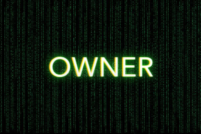 Owner, keyword of scrum, on a green matrix background stock photography