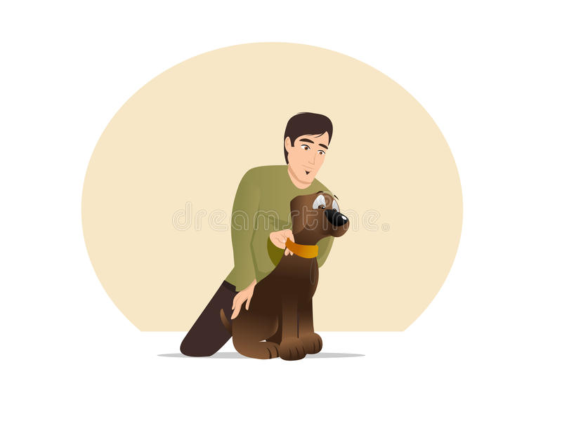 Download Owner Restraining Dog stock vector. Image of sitting - 32331382