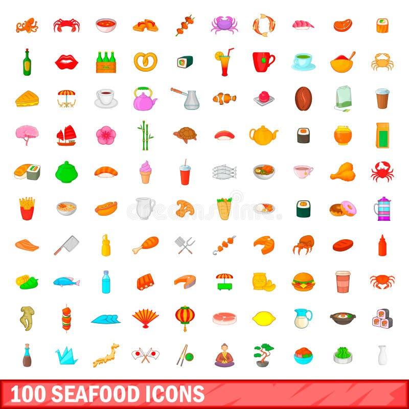 100 owoców morza ikon ustawiających, kreskówka styl royalty ilustracja