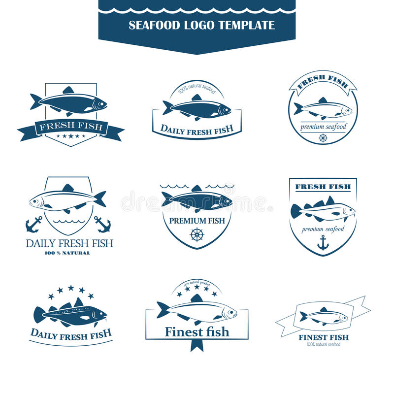 Owoców morza logów szablon ilustracji