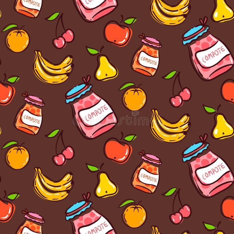 Owoc bezszwowy wzór na brown tle ilustracja wektor
