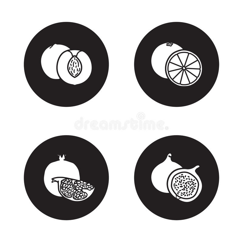 Owoc czarne ikony ustawiać ilustracji