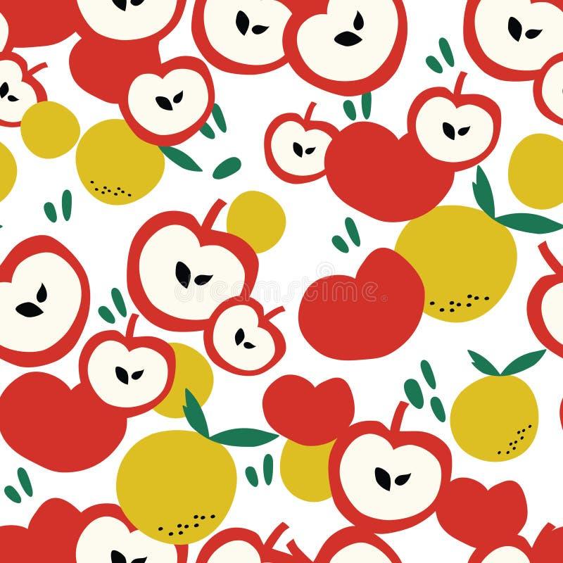 Owoc deseniują tło z jabłkiem i pomarańcze royalty ilustracja