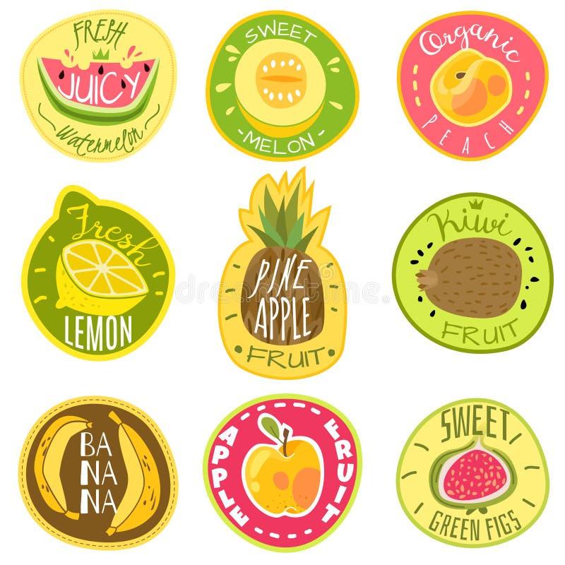Owoc etykietki Soku weganinu jedzenia gospodarstwa rolnego emblemata logo druku majcheru teksta kreskówki wektoru świezi organicz ilustracja wektor