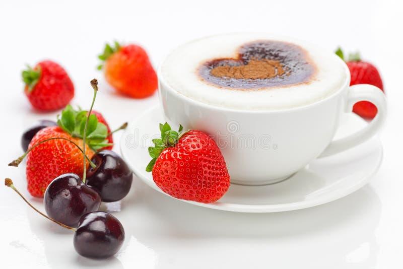 Owoc i cappuccino obrazy stock
