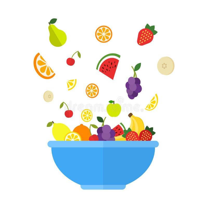 Owoc i jagody spadają w dużym błękitnym pucharze Świeża owocowa sałatka odizolowywająca na białym tle Owocowa mieszanka dla zdrow ilustracji