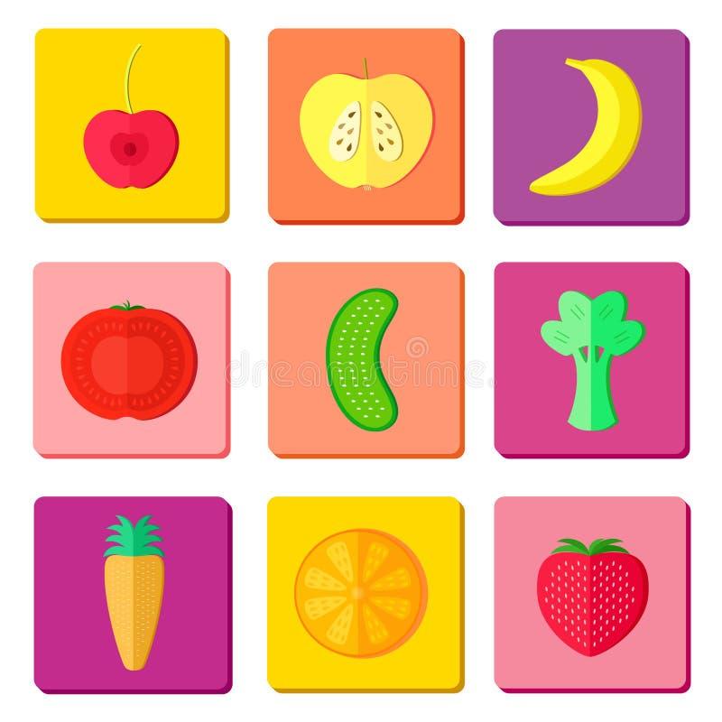Owoc i vegetablte ikony fotografia stock