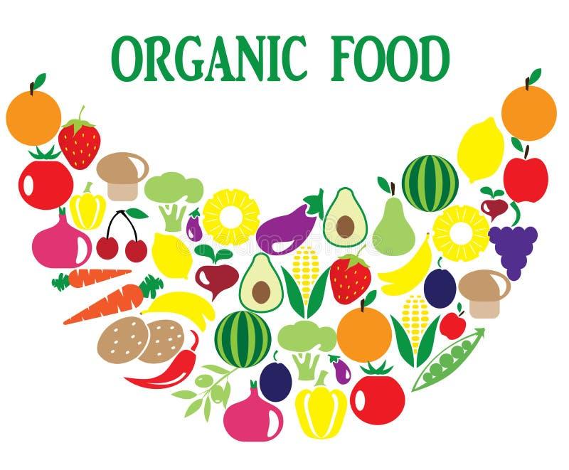 Owoc i Veggies Uśmiechają się Organicznie ilustracji