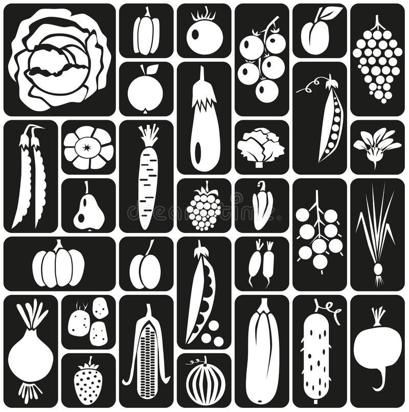 Owoc i warzywo ikony ilustracja wektor