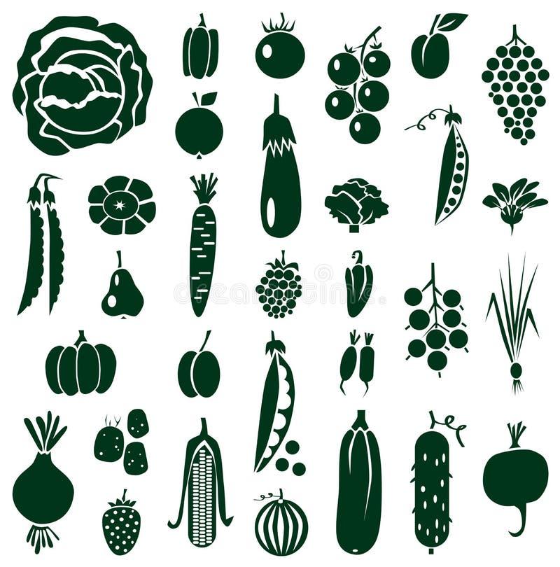 Owoc i warzywo ikony na bielu ilustracja wektor