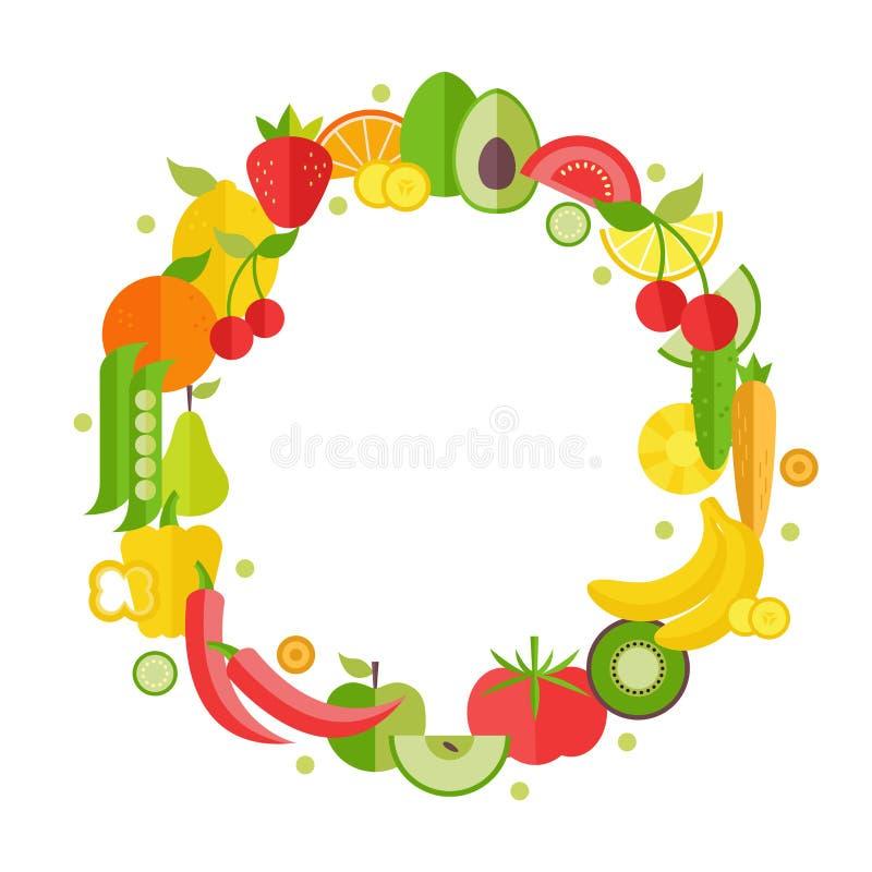 Owoc I Warzywo Ikony ustawia? w okr?gu kszta?cie jarosza, organicznie i zdrowego karmowy projekta pojęcie, ilustracji