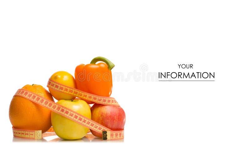 Owoc i warzywo jabłczanej grapefruitowej cytryny przegrywania ciężaru centymetrowy wzór fotografia royalty free