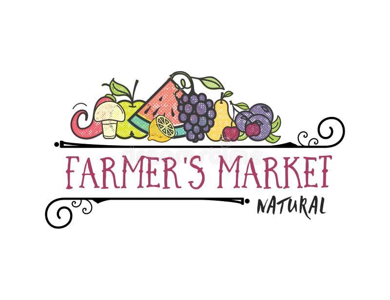 Owoc i warzywo, jarskiego sztandaru ` s Średniorolny rynek, odizolowywać koloru wektoru ikony royalty ilustracja