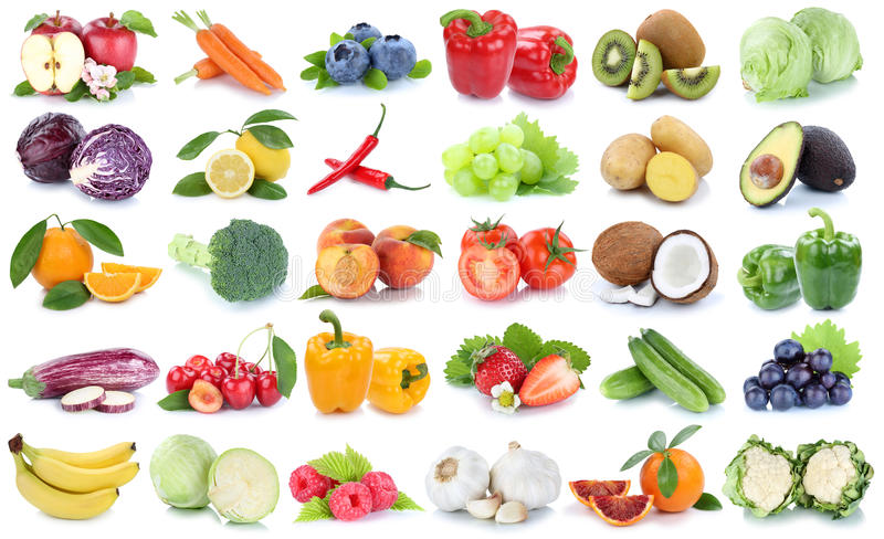 Owoc i warzywo kolekci odosobniony jabłczany pomarańczowy banan gr zdjęcie stock