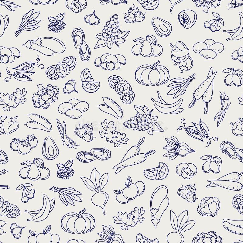 Owoc i warzywo kreślą bezszwowego wzór ilustracji
