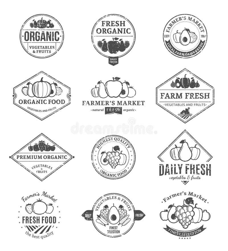 Owoc I Warzywo logowie, etykietki i projektów elementy, ilustracja wektor