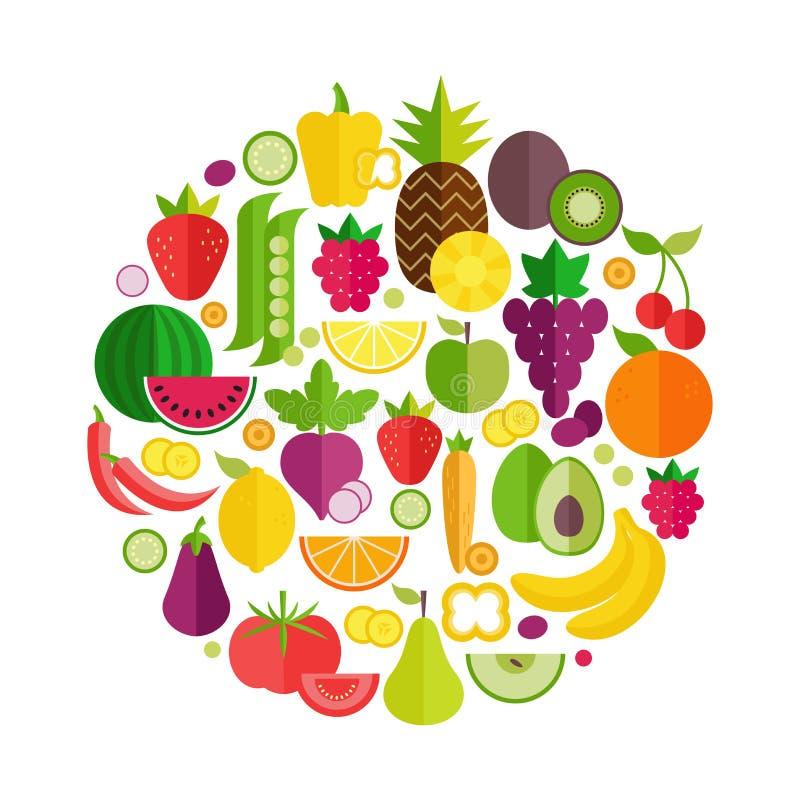 Owoc i warzywo organicznie p?askie ikony w okr?gu projekcie Zdrowy stylu ?ycia lub dieta projekta element royalty ilustracja