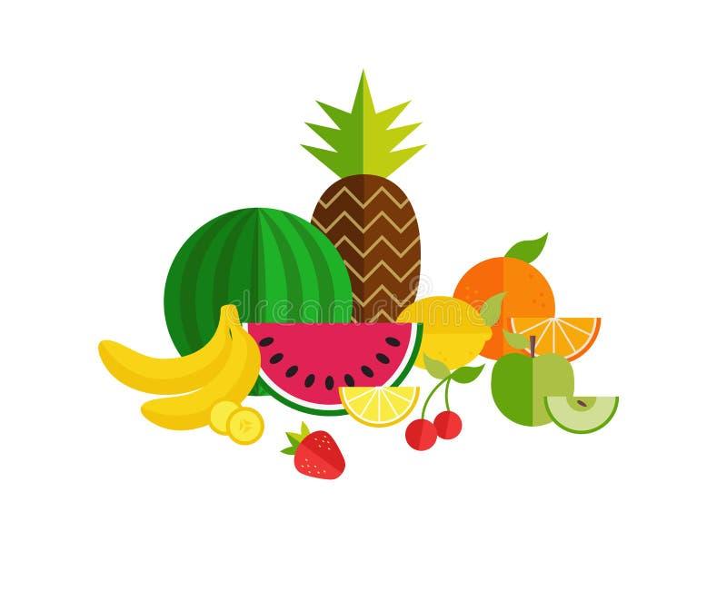 Owoc i warzywo płaskie ikony ustawiać E Zdrowy lif ilustracji