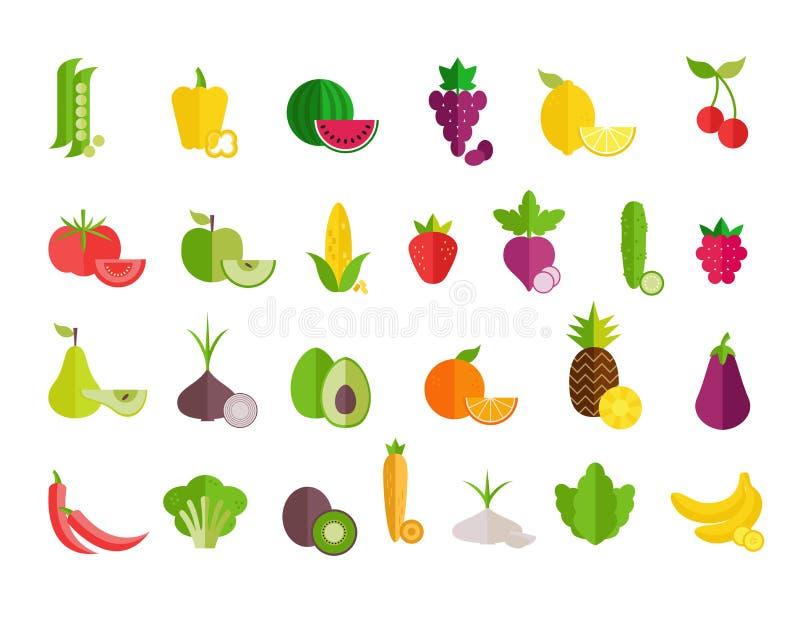Owoc i warzywo p?askie ikony ustawia? E Zdrowy lif ilustracja wektor
