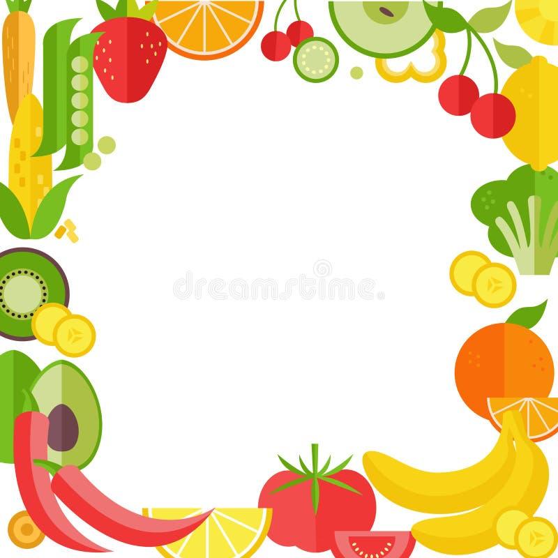 Owoc i warzywo ramowa wektorowa ilustracja royalty ilustracja